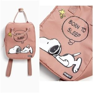 "Zara peanuts Snoopy ""Born to sleep"" backpack"